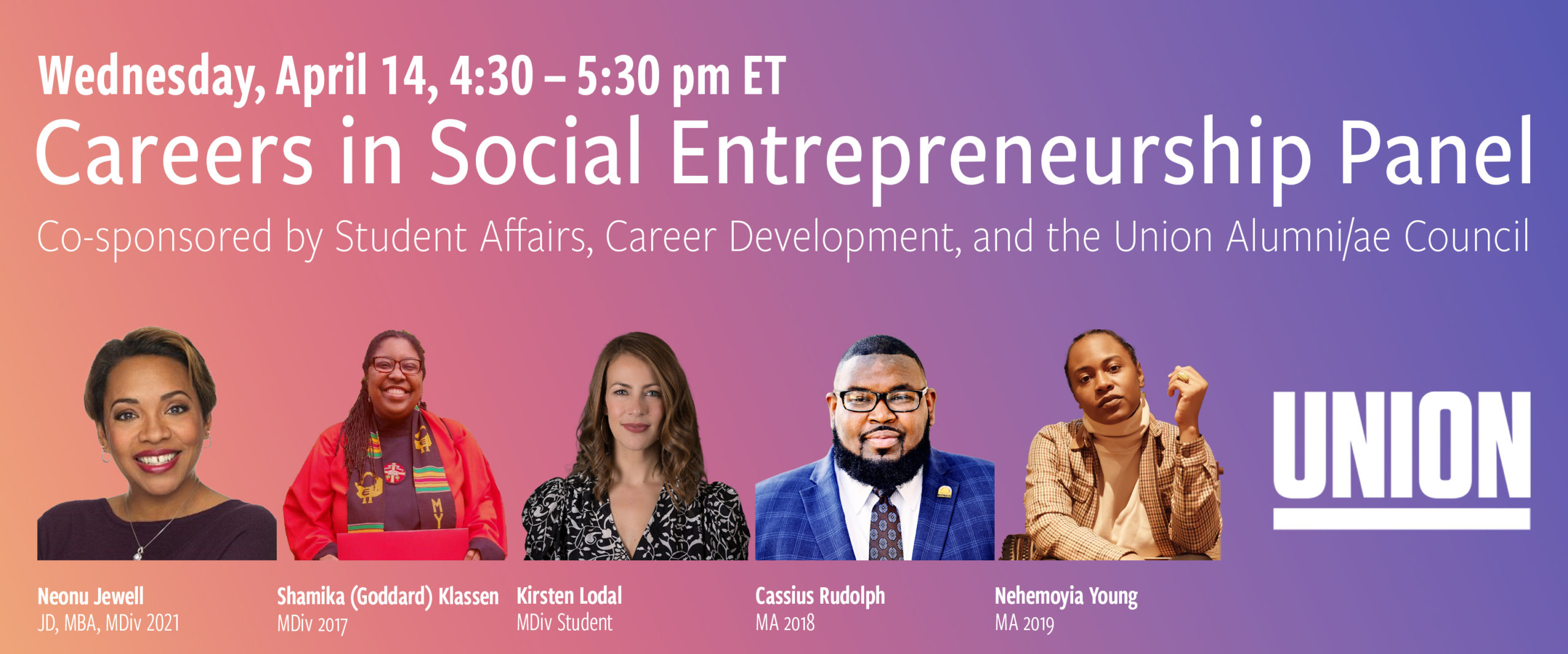 Careers in Social Entrepreneurship Panel Union Theological Seminary @ Zoom Webinar