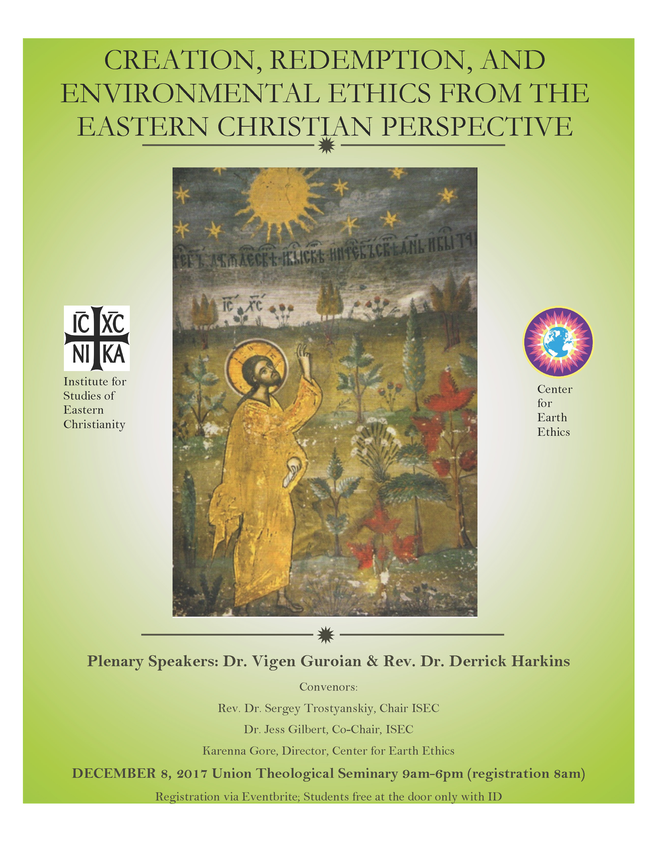 Creation, Redemption, and Environmental Ethics from the Eastern Christian Perspective @ Union Theological Seminary | New York | New York | United States