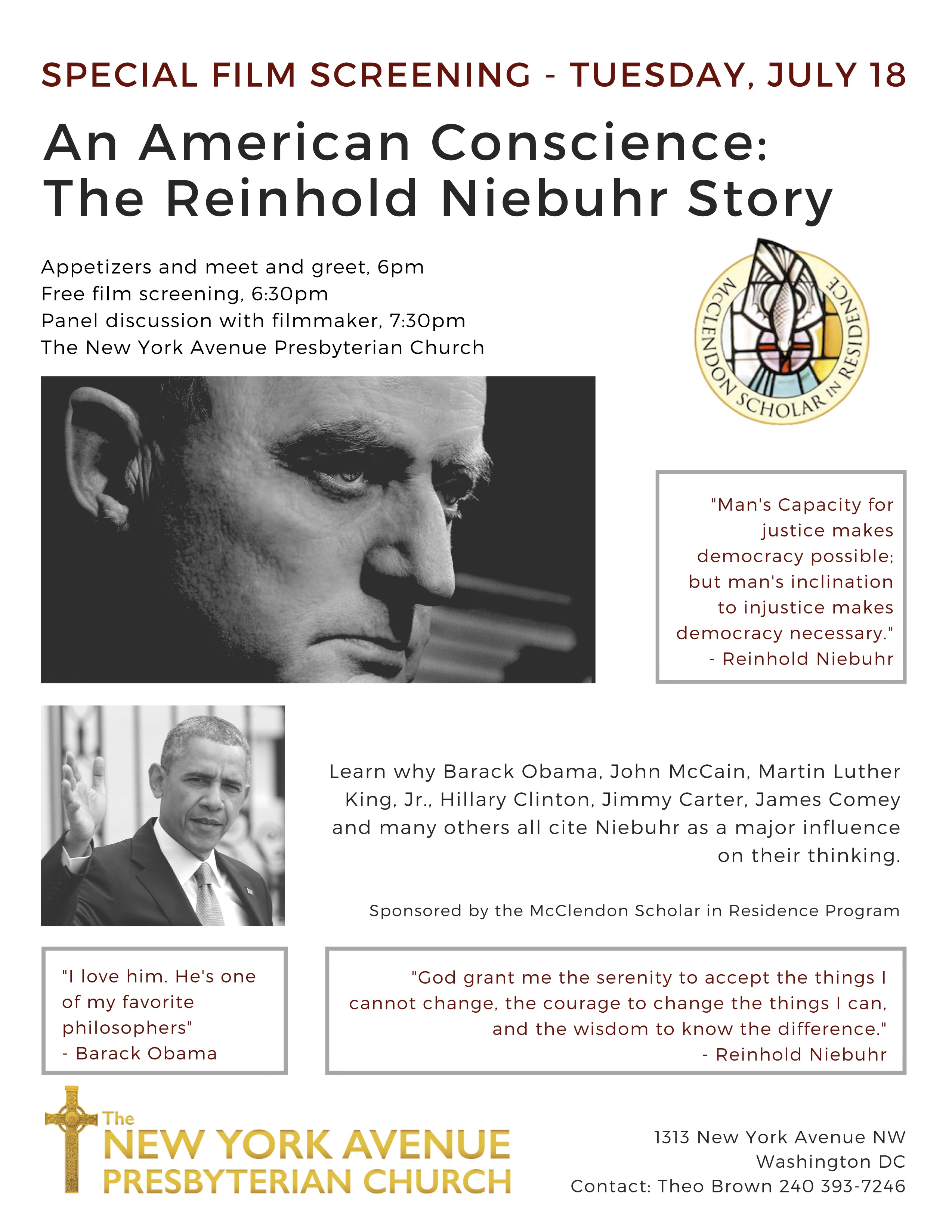 "Washington D.C. Screening of ""An American Conscience: The Reinhold Niebuhr Story"" @ New York Ave Presbyterian Church  